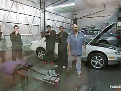 Blonde babe Leya Falcon gets her bazookas and hands tied together in rope bondage by sexy dark brown milf. Tommy Pistol puts her on her knees and fucks her throat roughly, spitting on her sweet whore face. Then he slams her pink bald love tunnel against the white car. She enjoys having large white meat inside her vagina.