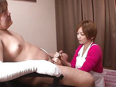 'coz this guy has his hands injured and can't masturbate the sweet nurse Meguru helps him with that problem. She takes off her clothes, remains only in that sexy white bra and panties and then begins to take up with the tongue his dick gently. Meguru wants to satisfy him and acquires a of of jizz in return!