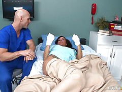 Gia DiMarco is sick. Her nurse Johnny Sins takes care of her by giving her a soapy bath. That fellow lathers up her round bra buddies with soap making 'em fine and clean. This is tit engulfing at it's finest. That fellow ends up in the tub, too.