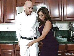 Johnny Sins and Francesca Le was having quite a fun in the kitchen. Johnny got a boner by looking at Le's cleavages and Le was helping Johnny to cool off by giving him a blowjob. When Ariella Ferrera came in the kitchen this babe also wanted to join the suck party and lucky Johnny gets a hell of a duet blowjobs while tese hot and sexy milf are taking out their boobs!