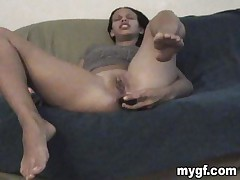 This hot black brunette that is masturbating on the sofa is my fresh girlfriend. That babe permeates her priceless to take up with the tongue love tunnel with a large dildo during the time that I am shooting all the action. That babe becomes greater amount and greater amount lewd and this babe sucks my cock during the time that i am shooting in nigh mode. I love her because this babe does a great blowjob, do you accede with that?