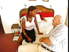 Violet Demarco is a skinny black midget milf with large tits. The hot honey with a nice ass knows how to please a guy and that's the reason Claudio called her. They take their garments off and that babe begins sucking on his meaty cock. Being a sexually experienced woman, that babe doesn't forget to lick and suck his balls.