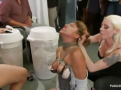 See this cute milf getting punished for all her sins. This Latin hottie babe with large tits and a hairless wet crack has the time of her life. Mr. Pete's friends are there to watch her moaning with fun and ache as this chab fucks her wet vagina hard. She enjoys both guys and honeys taking advantage of her.