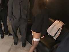 Raunchy cutie in black dress stands on knees and sucks dick