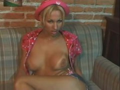 Solo blonde shemale tease and wank