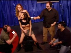 Schoolgirl chick rides Sybian on Howard Stern show
