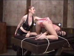 Hotty in satin panties bound and spanked