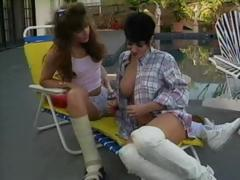 Hot Jeanna Fine is with her lesbo paramour having poolside sex