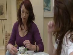Two horny brunette MILF's have tea party and take up with the tongue each others cum-hole