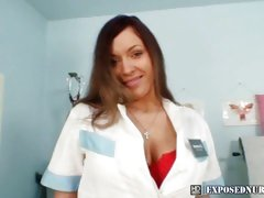 Massive tits naughty nurse Andrea playing with a speculum