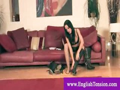 Useless male floozy masturbates to headmistress leather boots