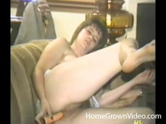 Double sex tool action with a retro babe