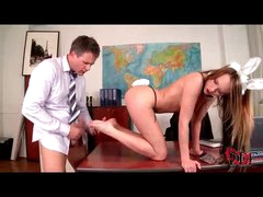 Enjoyment bunny girl footjob and cumshot in her shoes