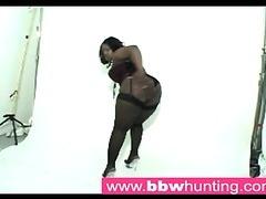 Hot ebony BBW teasing a large ass paramour