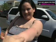 Bulky brunette sucks ramrod and then titty bonks