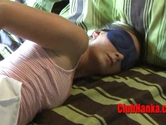 2 guys having pleasure at tied hot blonde expense