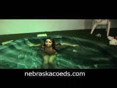 Afterhours in hotel pool part with naked chicks