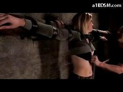Blonde Angel Tied To Cross Stomach And A-hole Spanked Bumpers Rubbed In The Dungeon