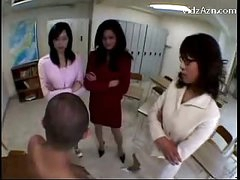 3 Teachers Raping Guy Rubbing His Face With Love bubbles Getting Love tunnel Licked In The Classroom