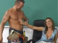 Construction Worker Finds Sexy Teacher Devon Lee At Her Desk And Makes Her Engulf His Cock In advance of This chab Fucks Her Cunt Right There In The Classroom Aged Love bubbles Cumshot