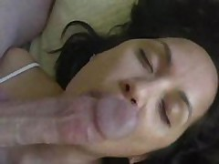 Pliant wife licks cock and balls and receives cum treat