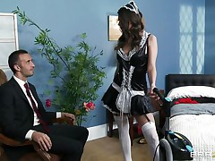 This cute brunette is employed as cleaning woman. Her boss is watching her how this babe is working and this guy is very lascivious and want to fuck her. The boss put her on the bed and start to take up with the tongue her cookie and ass. Then this guy introduce his big cock in her soaked snatch and start to fuck her very unfathomable and hard.