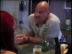 Naked redhead midget with hot butt and cute tiny tits gets wicked after a glass of beer and widens her legs so that this dude can take up with the tongue her hairless pussy. She can't live without it and groans as this chab eats and then fingers that cunt. The dude inserts his hand in her moist vagina and that babe starts getting hornier and hornier until this chab asks her if that babe wants to watch something big, his hard thick cock. This slut hurries to engulf his dick and gets it stuffing her face hole like a rod hungry bitch.