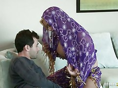 James Deen is cheerful by the large milk sacks of shyla stylez wearing belly dancer wardrobe. This babe is looking breathtaking in purple. Her milk sacks are groped hard by deen and licking it with passion. This babe truly wants her pussy being rubbed too.