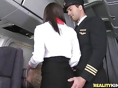 Willing for take-off captain! But previous to that, this curvy flight stewardess went down on her knees to give the pilot a blowjob! Joining the mile-high club has not at any time been this hot, especially when a beautiful brunette cabin crew undresses for the captain to caress her large ass! Bon voyage passengers!