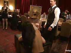 Odile, Lyla Storm, and Katharine Cane are all for the pleasure of the guests at this party. Katharine has a box on her head and is asking to cum. Lyla gets fingered in one as well as the other holes and vibed on her clit. It's an elegant fuckfest for those brunette babes, pained or pleasured at the whims of the guests.