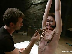 James is sick and tired of her attitude and gives a decision to dominate her. After adding some more clothespins on her thin white body that guy sticks his rod betwixt her wet lips and the way she's sucking it makes him ease her torment and removes a few pliers, will this chick be a good gal from now on?