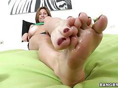 Lisa X is one fine woman from head to toe. Marvelous Eyes, fascinating large tits, lean legs, a nice, round ass, and one yummy-looking pussy! The star this day is her feet, however, and she's getting 'em lubed up to take a knob between 'em and make her dude cum! If she's this good with her feet, then....