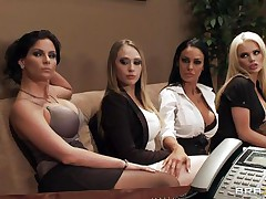 Watch these four hot honeys seducing their boss for a salary raise. Watch how they're undressing and start touching, giving a kiss and licking every others bobs. Seems that the boss is joining the party so they start engulfing his hard cock. Somebody is getting a salary raise!