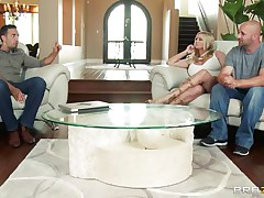 Briana Banks and her spouse are offered a man for doing some act in front of a camera, as spouse begins taking off his clothes this chab is told that the task have to be performed by professional. The large breasted milf assents with him and likes to be fucked by professional. Her spouse doesn't like this and goes out and then they begins their hardcore action. This chap kisses her and then lay down her on the ottoman and pull off her panties and sucks her cunt.