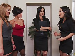 Those four hot babes are going to make an suggest to their boss her really can't refuse. Watch how the 1st one goes and and takes her clothes off and shows her big whoppers the same like the rest of them. They show him how hard they can work as group sucking his hard 10-Pounder and making him cum.