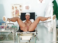 Kamila is a naughty nurse and that babe widens those lengthy hawt legs so that we can watch her beautifull shaved cunt. Look at her as that babe inserts a sex tool in her vagina and then a very interesting instrument. Those hawt spreaded legs on the medical table are asking for a huge load of cum on them, will that babe get some?