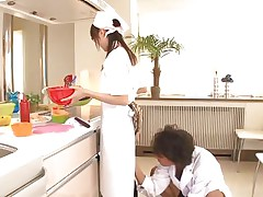 18 yo Japanese sweetheart Asuka does her job in the kitchen when this man begins playing with her cunt. That chick tries to ignore him and continues cooking but that fake penis that guy uses makes things very difficult for the pretty oriental girl. What do u think, is this chick worthwhile at fucking as this chick is at cooking?