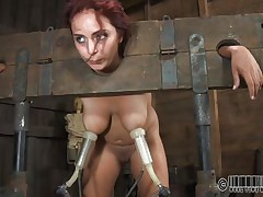 Ashley Graham is tied up in shackles with a milking machine attached to her giant breasts. This babe a filthy whore and those studs castigate her with humiliating tasks. She's tied to her chair so u can acquire a better look at her giant melons.