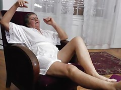 See this short haired granny masturbating in her room. This babe is alone and this babe needs to calm the bitch inside her who needs jocks to fuck. So this lady has only one way to survive. That is playing on her own! See how this babe is groping her own tits and then rubbing her dirty cleft before doing a nice fingering!