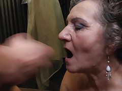 Jana is a 64 years old lady and that babe likes to get her pussy drilled by a young cock. That babe is being deep permeated by that young guy while they are right in the bed. I am sure that this brunette bitch wants some more and it just ended with a jizz flow on her face just after a nice blowjob.