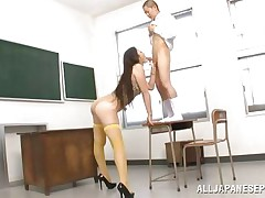 What do you think about this tall slut? Isn't this babe a sexy piece of ass? Her name is Erika and this whore has a couple of long legs and a nice, firm ass. Erika's cum-hole deserves fingering and licking and her short paramour does the one and the other for her. She's ready to suck his cock, but he has to stand on a desk first.