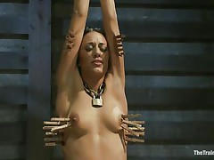 Hispanic girls are hot and the fact that Lyla is tied and punished makes her even hotter. Her executor putted clothespins on her body and this chab rubs her clit with a sex-toy making her scream with pain and pleasure. This babe loves it and her tight body barely handles all that stimulation. Will she get drilled too?