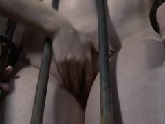 Bound up chick acquires her cum-hole lips opened up for lusty castigation