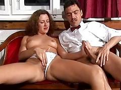 German sweetheart takes a large cock
