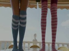 Slender chicks in socks enjoying free time