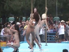Nudist come out to party and see the chicks dance