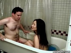 Asian girlfriend rough baths fuck