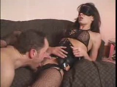 Blindfolded bitch in corset licked and screwed