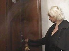 Blonde granny allows him drill her fur pie