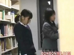 cute schoolgirl fucked and facial spunk flow by geek in library